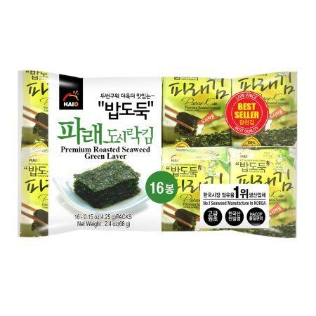 Premium Roasted Seaweed (Green Laver) 0.15oz(4.25g) 16 Packs