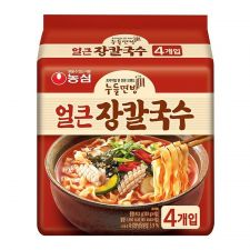Nongshim Jang Kal Guk Su Spicy Flavor 4.06oz(115g) 4 Packs, 농심 얼큰 장칼국수 4.06oz(115g) 4팩