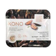 KONO Frozen Greenshell Mussels Half Shell 1.5lb(680g), KONO 반깐 홍합 1.5lb(680g)