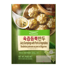 Pulmuone Juicy Dumplings with Pork & Vegetables 21.2oz(600g), 풀무원 육즙 듬뿍 만두 21.2oz(600g)