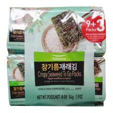 Pulmuone Crispy Seaweed To Go Packs 0.16oz(4.5g) 12 Packs, 풀무원 참기름 재래김 0.16oz(4.5g) 12팩