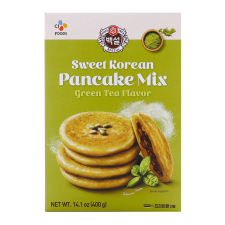 Beksul Sweet Korean Pancake Mix Green Tea Flavor 14.1oz(400g), 백설 녹차맛 호떡 믹스 14.1oz(400g)