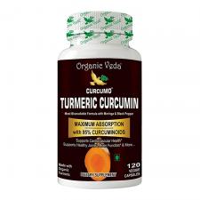 Organic Veda Turmeric Curcumin 120 Veggie Capsules, 오가닉 베다 강황 커큐민 120정