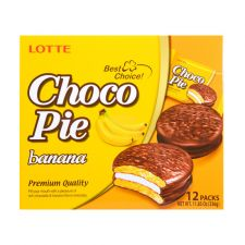 Lotte Choco Pie Banana 0.98oz(28g) 12 Pcs, 롯데 초코파이 바나나맛 0.98oz(28g) 12개입