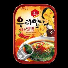 Sempio Sesame Leaves in Spicy Sauce 2.4oz(70g), 샘표 우리엄마 매콤한 깻잎 2.4oz(70g)