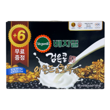 Dr. J H MART Vegemil Black Bean Almond&Walnut Soymilk 6.43oz(190ml) 24 Pack, 정식품 H MART 베지밀 검은콩 아몬드&호두 두유 6.43oz(190ml) 24개입