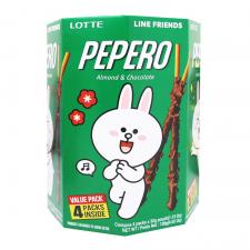 Lotte Pepero Almond Multi Pack Line Friends 4.52oz(128g), 롯데 빼빼로 아몬드 멀티팩 라인 프렌즈 4.52oz(128g), 樂天 杏仁巧克力棒 4.51oz(128g)