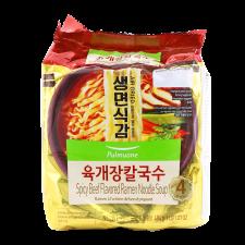 Pulmuone Spicy Beef Flavored Ramen Noodle Soup 4.26oz(121g) 4 Packs, 풀무원 육개장 칼국수 4.26oz(121g) 4팩