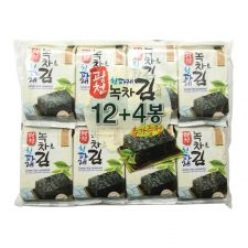 KwangCheon Green Tea Seaweed (Green Laver) Snack Packs 0.17oz(5g) 16 Packs, 광천 청파래 녹차 도시락김 0.17oz(5g) 16 Packs, KwangCheon 綠茶海苔 0.17oz(5g) 16包