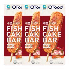 Chung Jung One Fish Cake Bar Hot Pepper 2.8oz(80g) 3 Packs, 청정원 매콤 어묵바 2.8oz(80g) 3팩, 淸淨園 魚餅棒 辣味 2.8oz(80g) 3根
