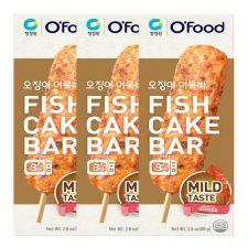 Chung Jung One Fish Cake Bar Mild Taste 2.8oz(80g) 3 Packs, 청정원 오징어 어묵바 2.8oz(80g) 3팩, 淸淨園 魚餅棒 微辣 2.8oz(80g) 3根