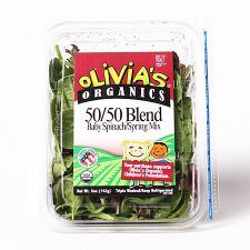 Olivias Organics 50/50 Blend (Baby Spinach/Spring Mix) 5oz(142g), Olivias Organics 50/50 블렌드 (베이비 스피니치/스프링 믹스)