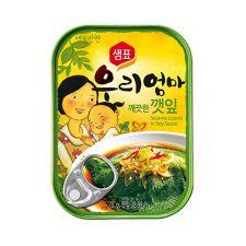 Sempio Sesame Leaves in Soy Sauce 2.4oz(70g), 샘표 우리엄마 깨끗한 깻잎 2.4oz(70g)