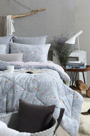 Flora Micro Fiber Cover, 16oz Polyester Filling Quilts Comforter Jasmine Blue Q 74.80 x 86.61 in