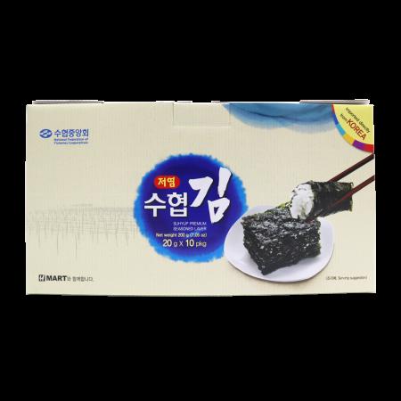 Suhyup Premium Roasted Seaweed Less Sodium 0.7oz(20g) 10 Packs