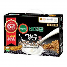 H MART Vegemil Black Bean Almond&Walnut Soymilk 6.43oz(190ml) 24 Pack