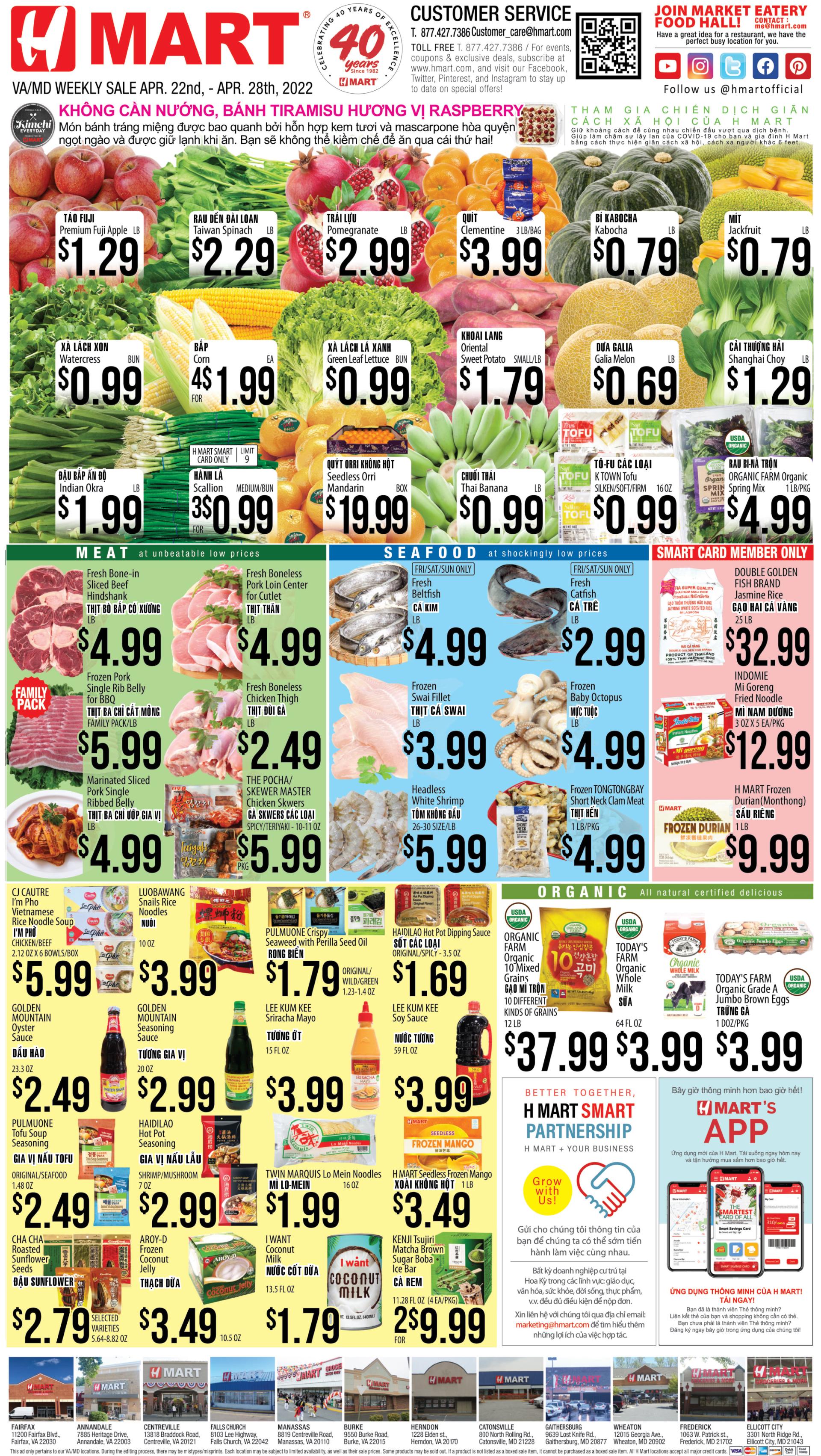 Weekly sales on Maryland & Virginia